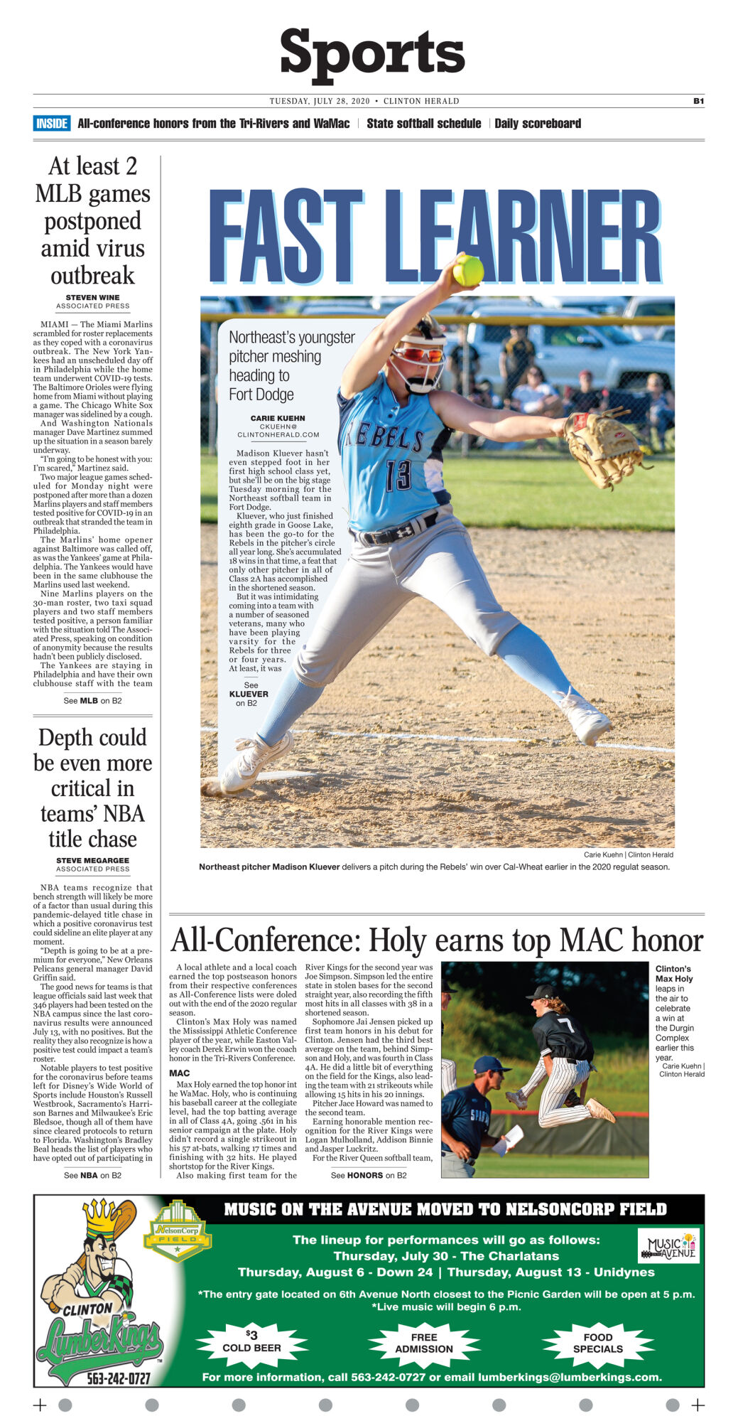 July 28, 2020 Front Sports page