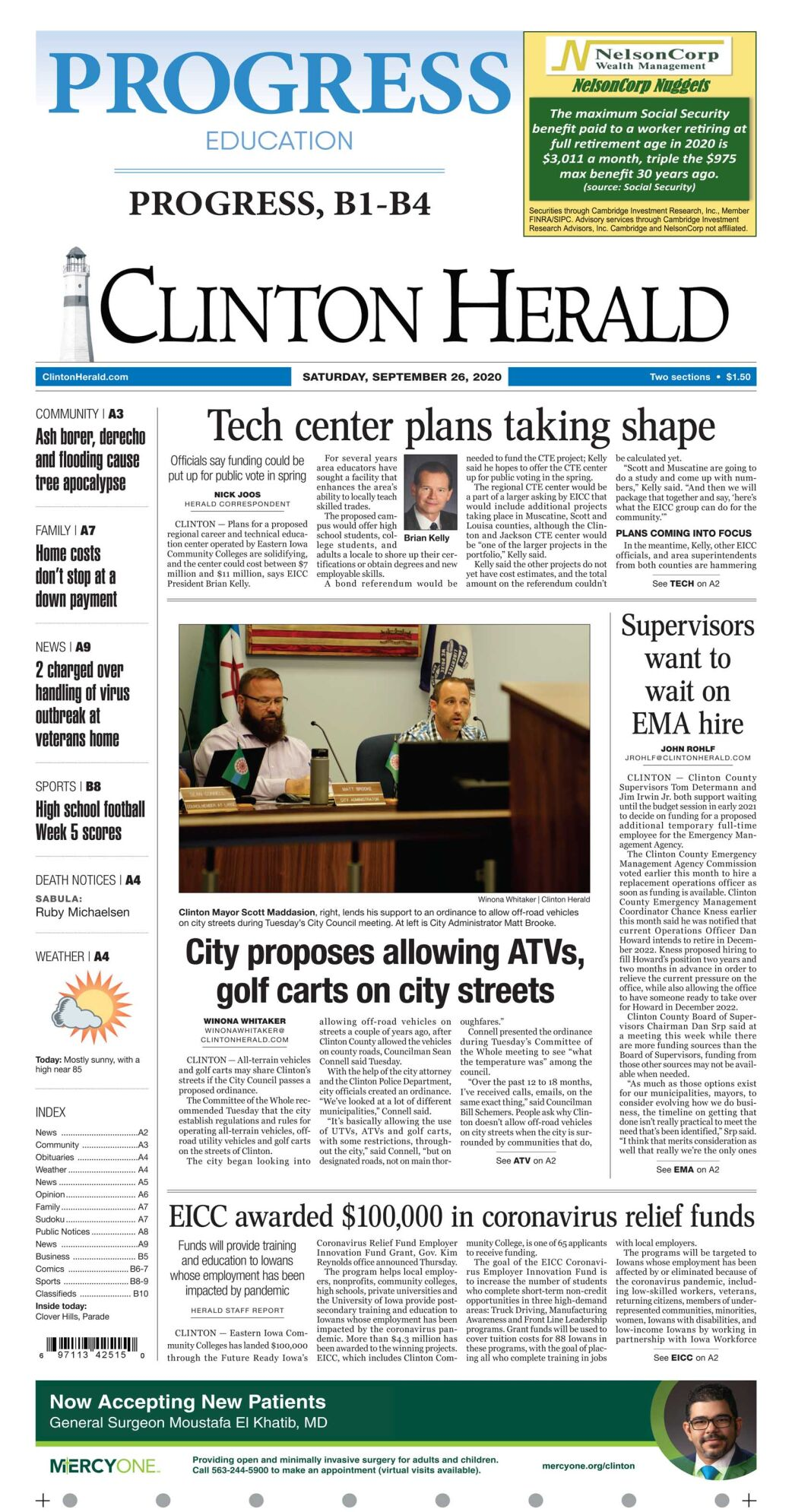 September 26, 2020 front page