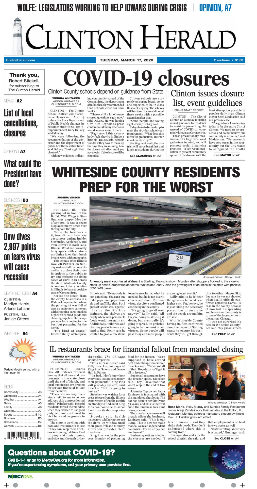March 17, 2020 Front page