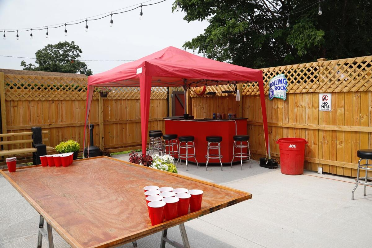 Beer pong on Hook's Pub's patio