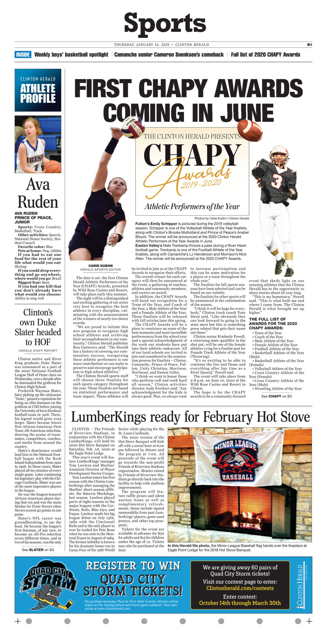 Jan. 16, 2020 Front Sports page