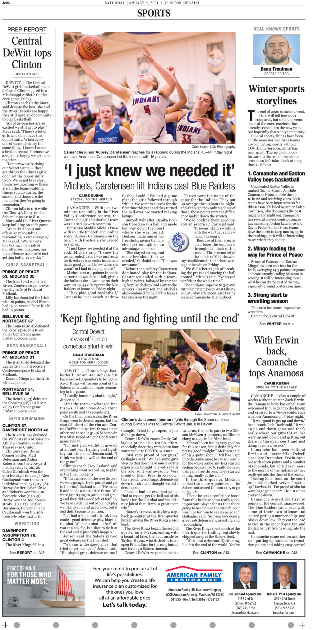 Front Sports page for January 9, 2021