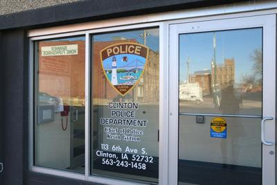 clinton police department front window