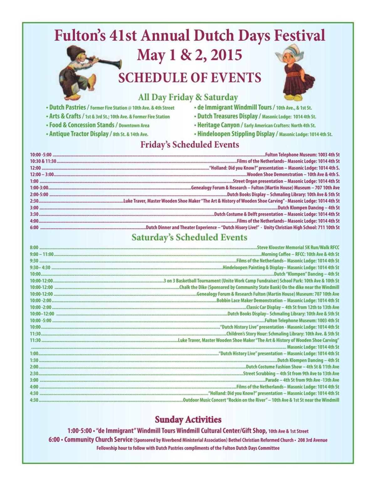 2015 Dutch Days Schedule of Events