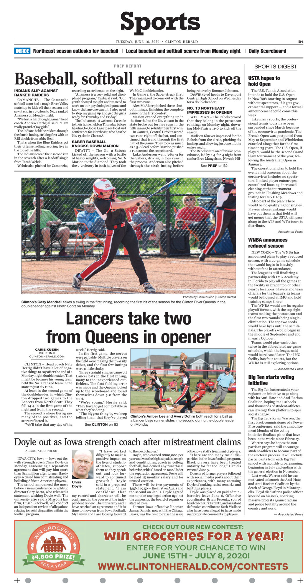 June 16, 2020 Front Sports page