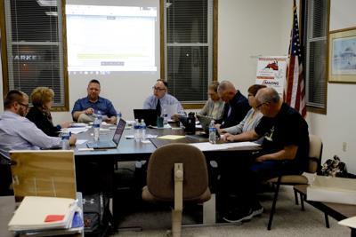 River Bend school board, Andrew Meyers, Jane Orman Luker, Dan Portz, Superintendent Daryl Hogue, Secretary Virginia Petersen, Eric Fish, Mary Simmons, Jay Ritchie.
