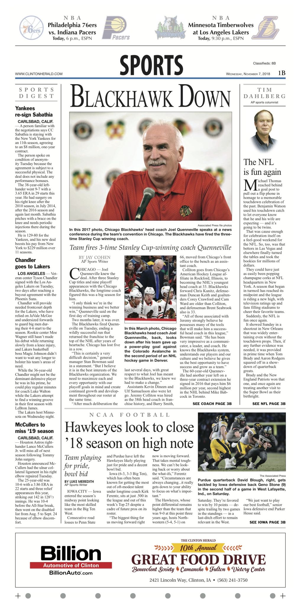The sports page for November 7, 2018