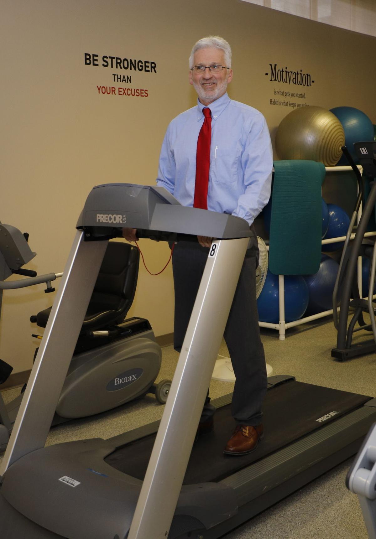 Gary Determan on treadmill at mercyone