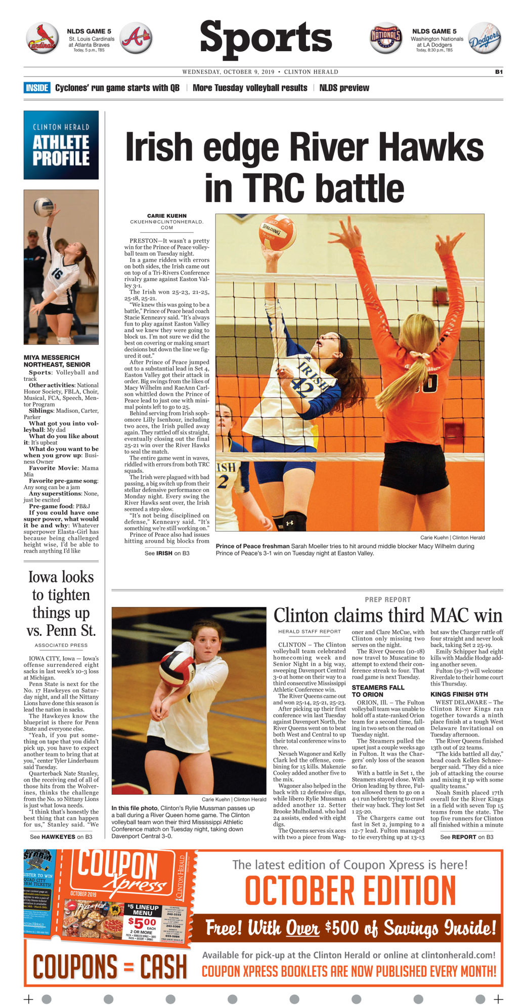 Sports page for Oct. 9, 2019