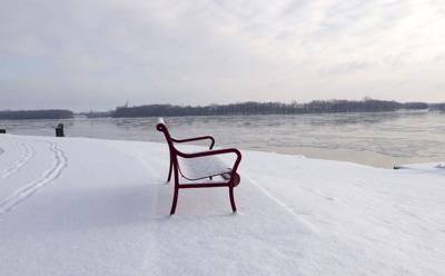 footprints, bench, snow, river