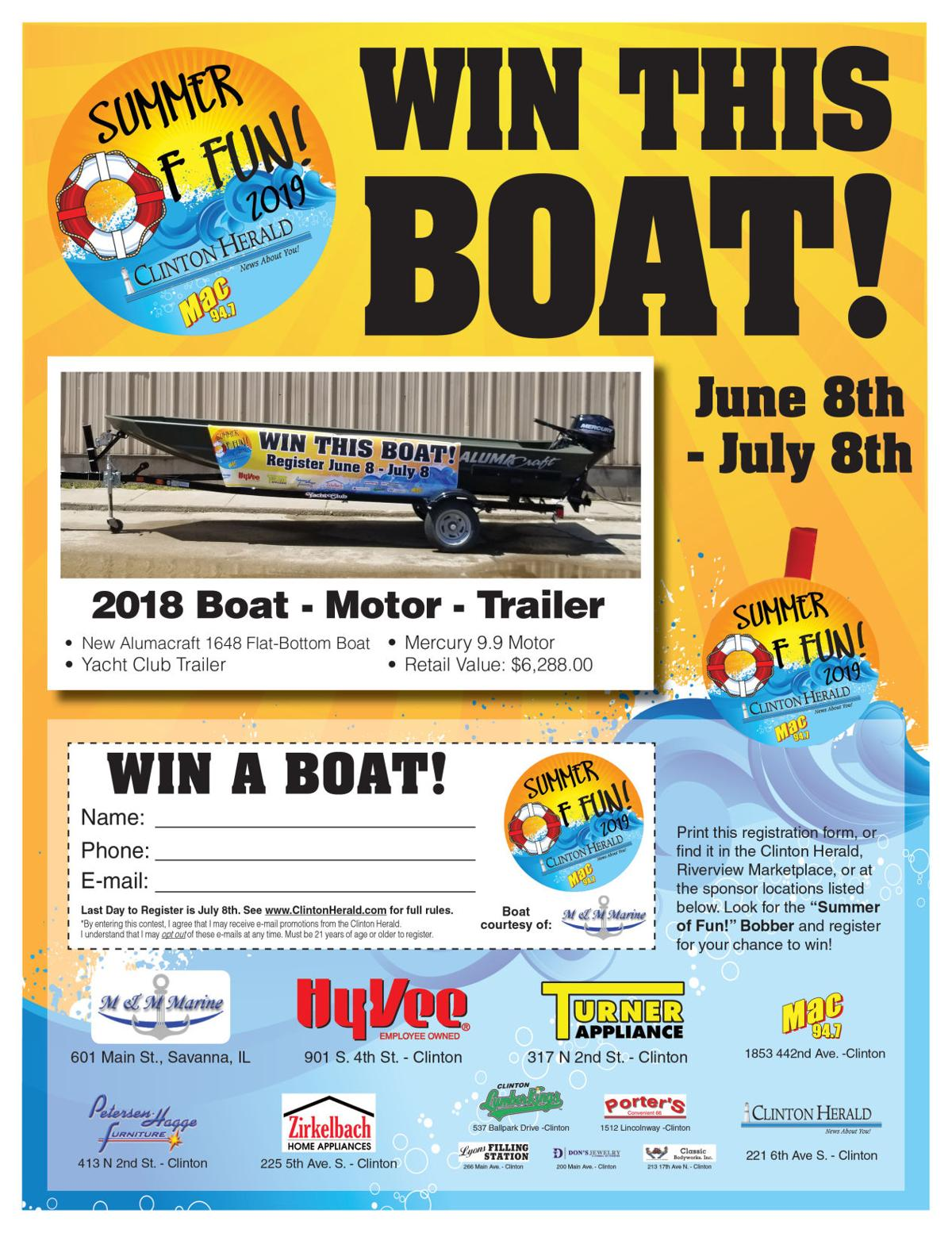 2019 Clinton Herald Boat Giveaway Form