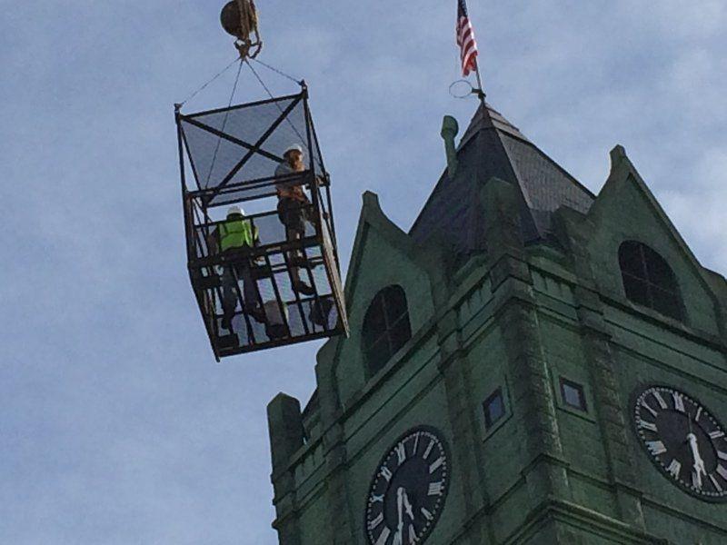 Courthouse clock repairs begin