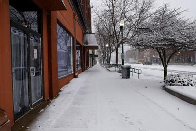 Downtown Clinton in snow on Veterans Day