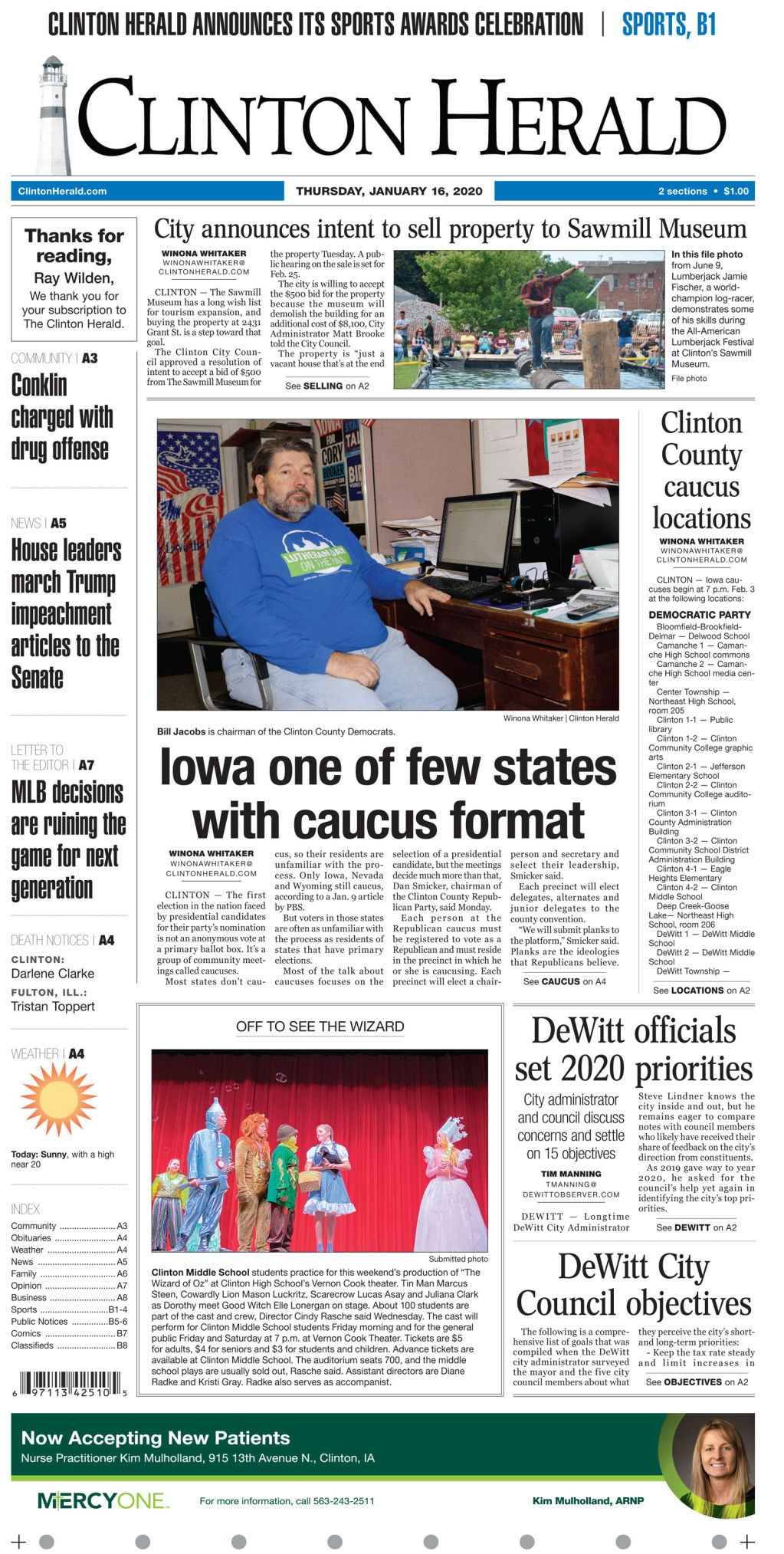 Jan. 16, 2020 Front page