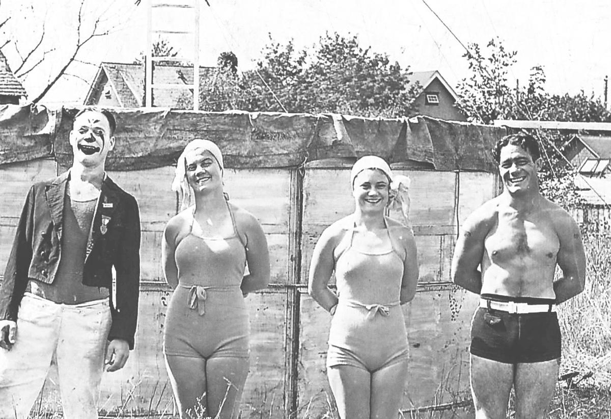 1930s divers, frank the clown, Gladys, Edith and Leslie Swift