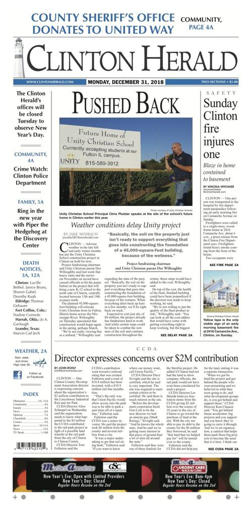 The front page for December 31, 2018 | | clintonherald com