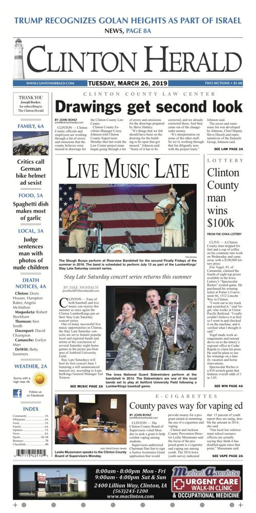The front page for March 26, 2019 | | clintonherald com