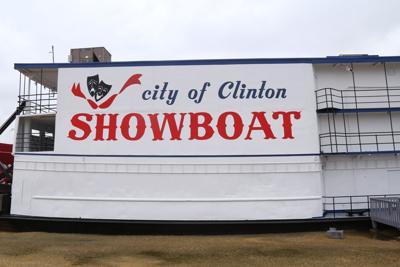 sign on back of showboat