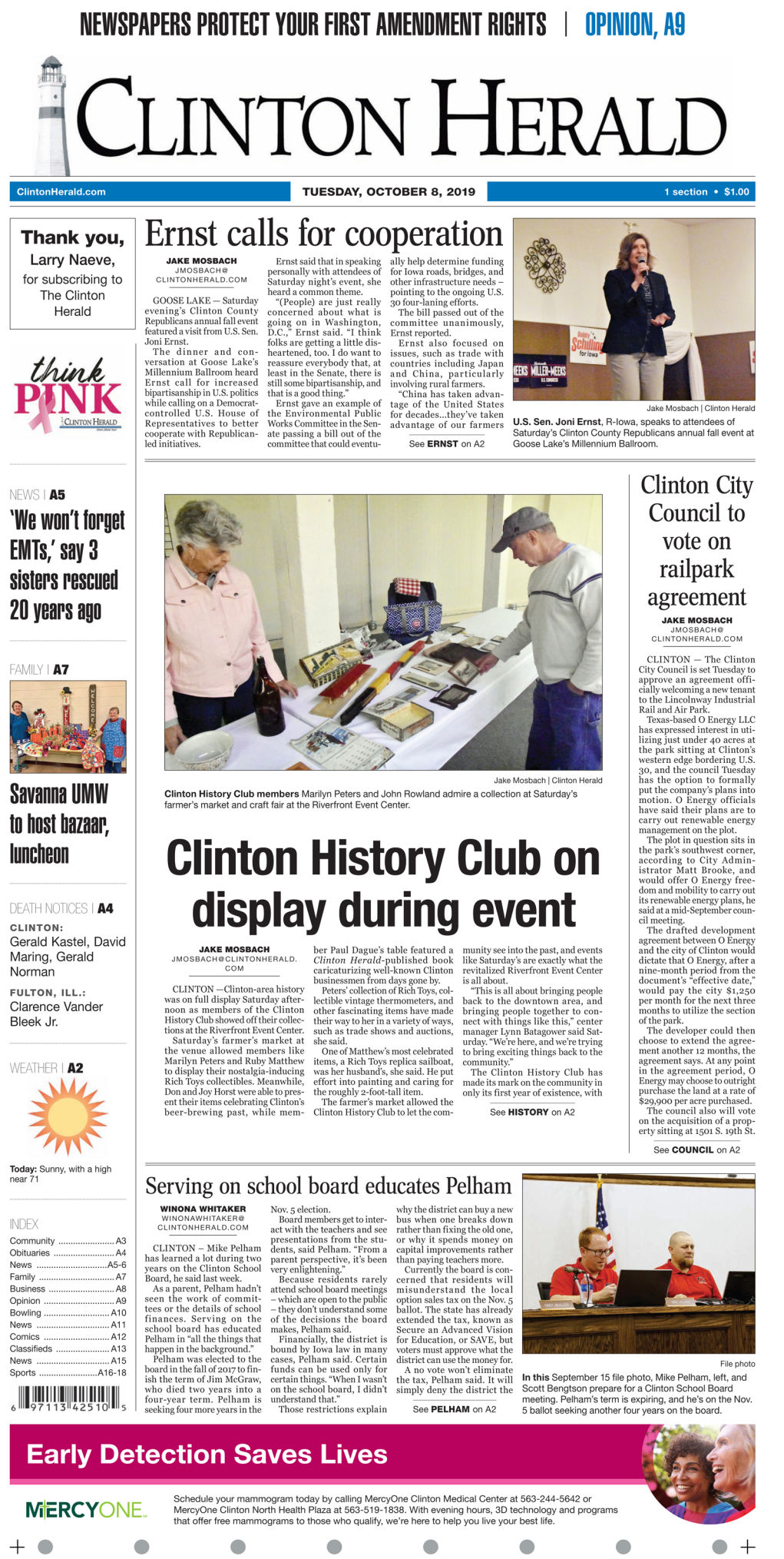 Front page for Oct. 8, 2018