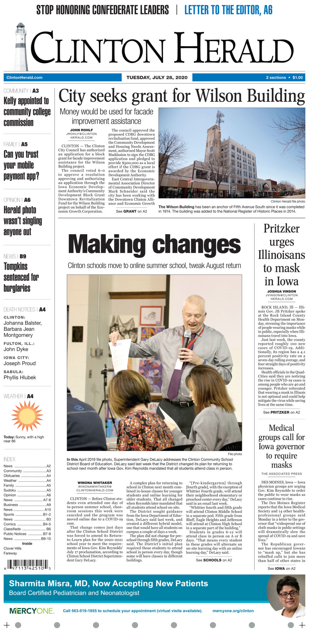 July 28, 2020 Front page