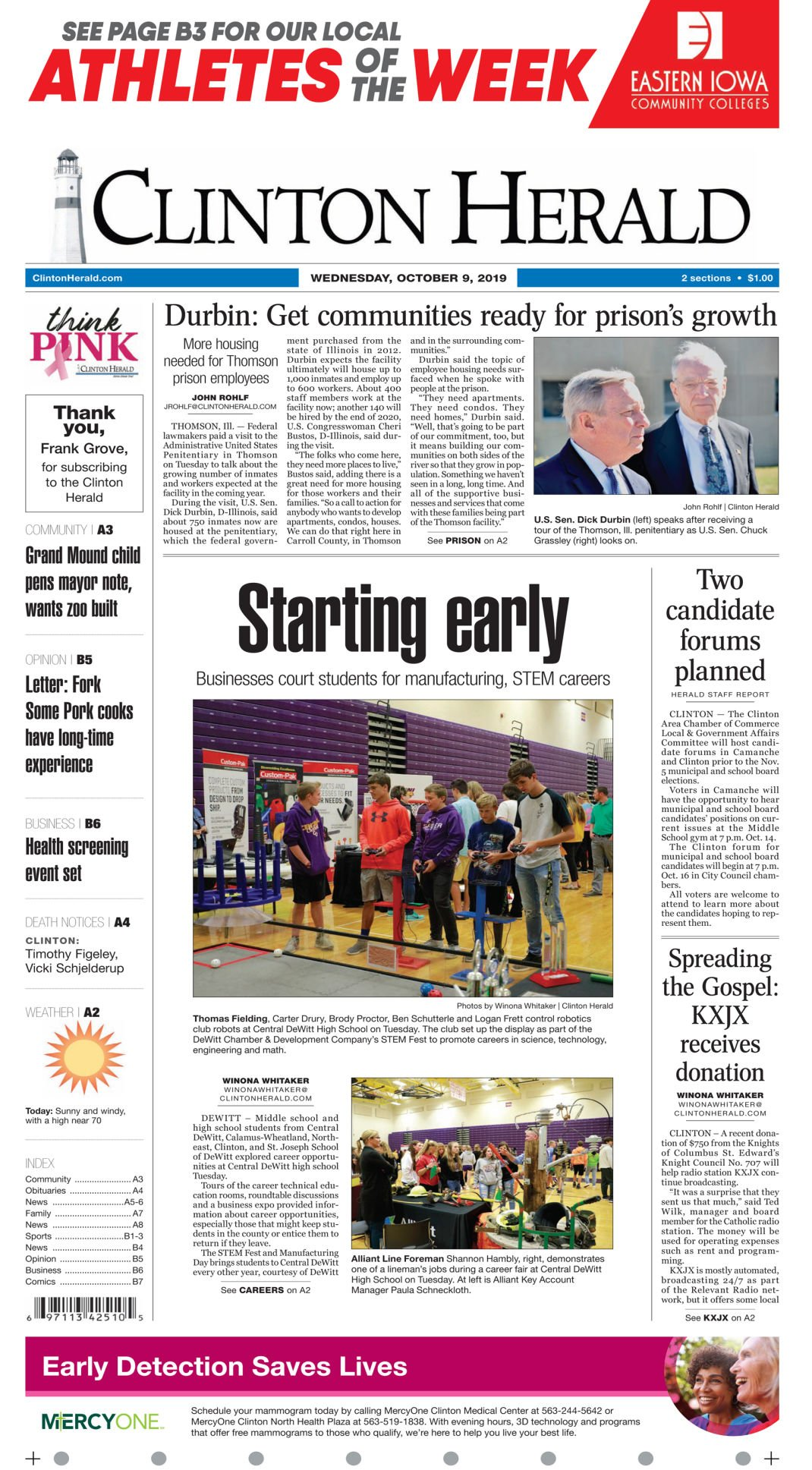 Front page for Oct. 9, 2019
