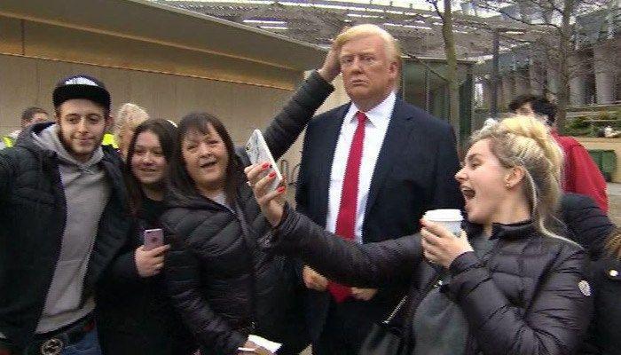Wax President Trump appears outside U.S. Embassy in London