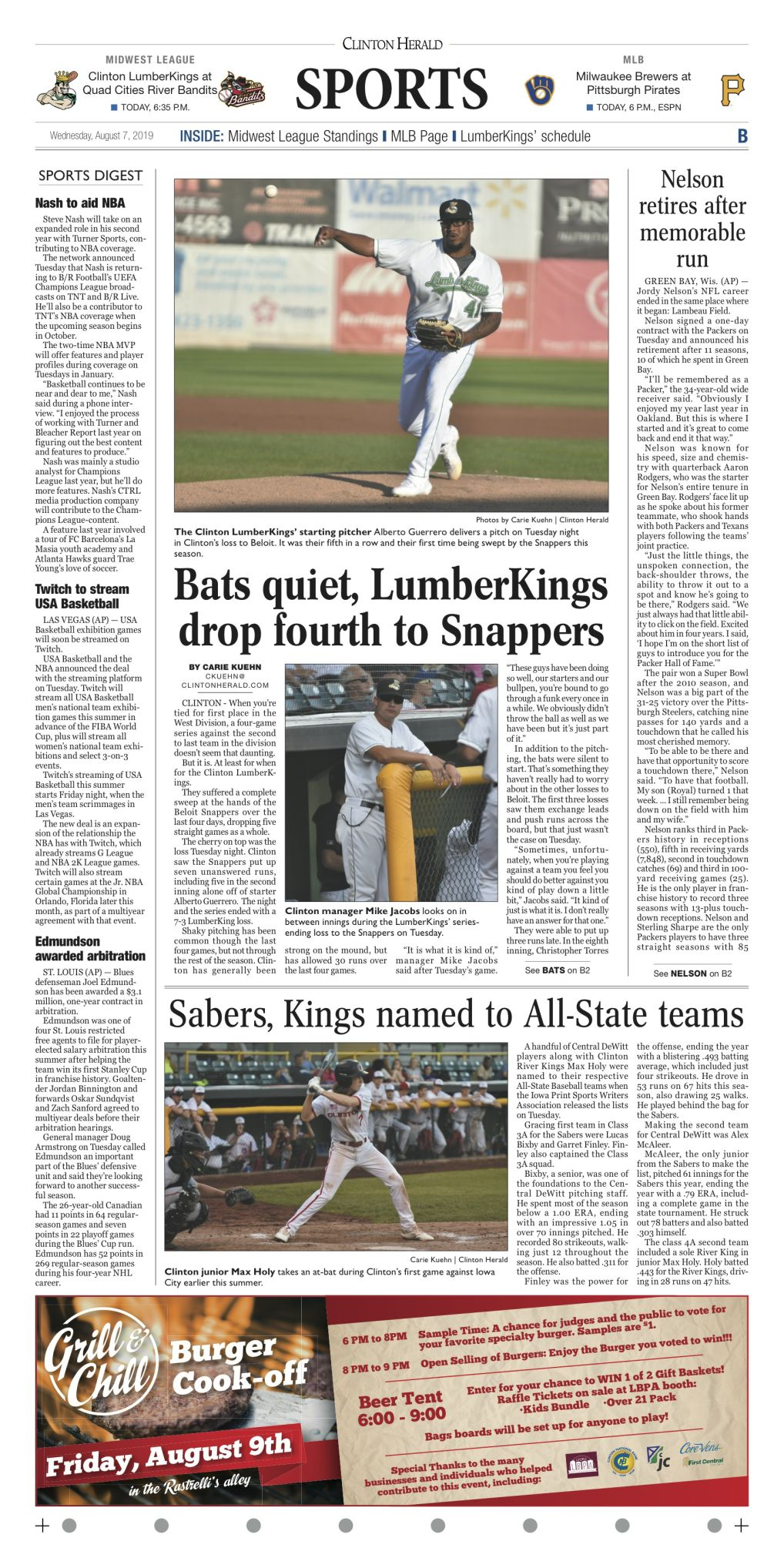 The sports page for August 7, 2019