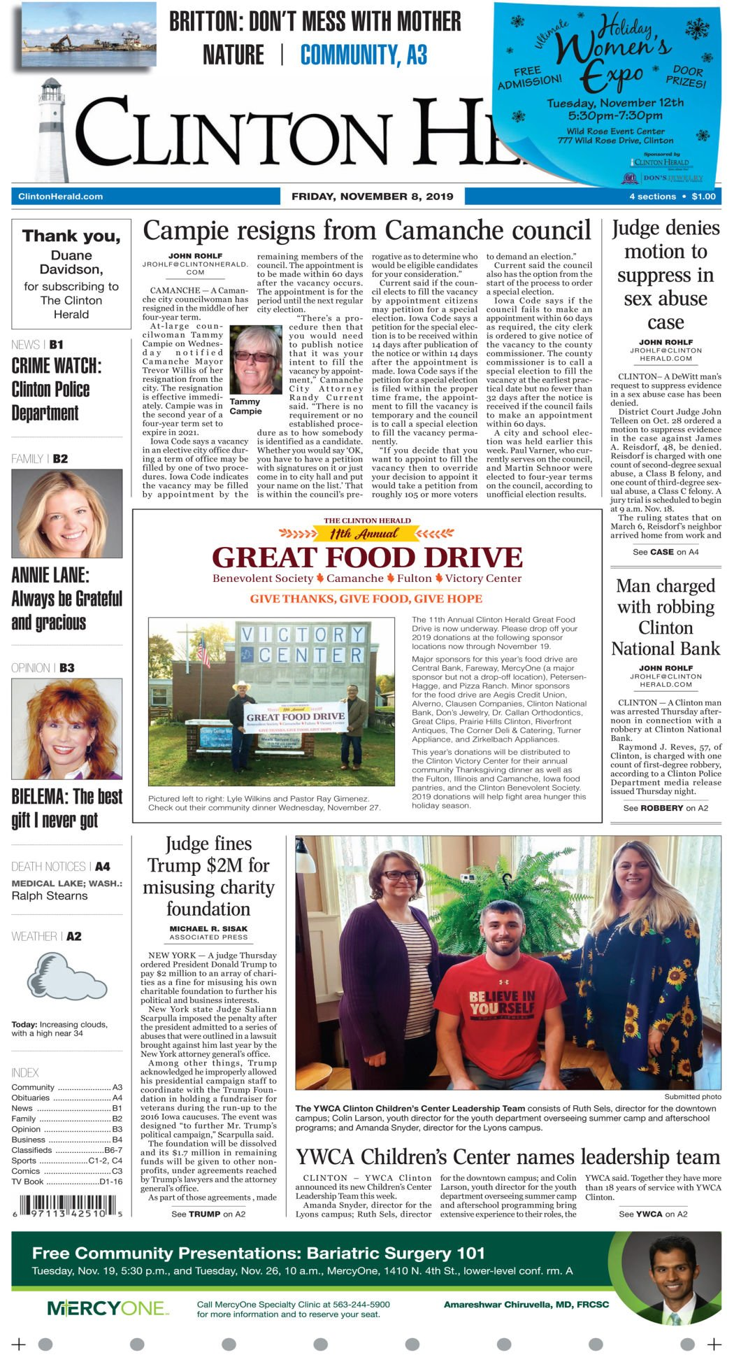 Front page for Nov. 9, 2019