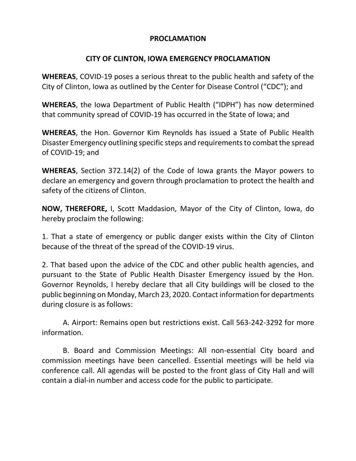 Clinton mayor's emergency proclamation