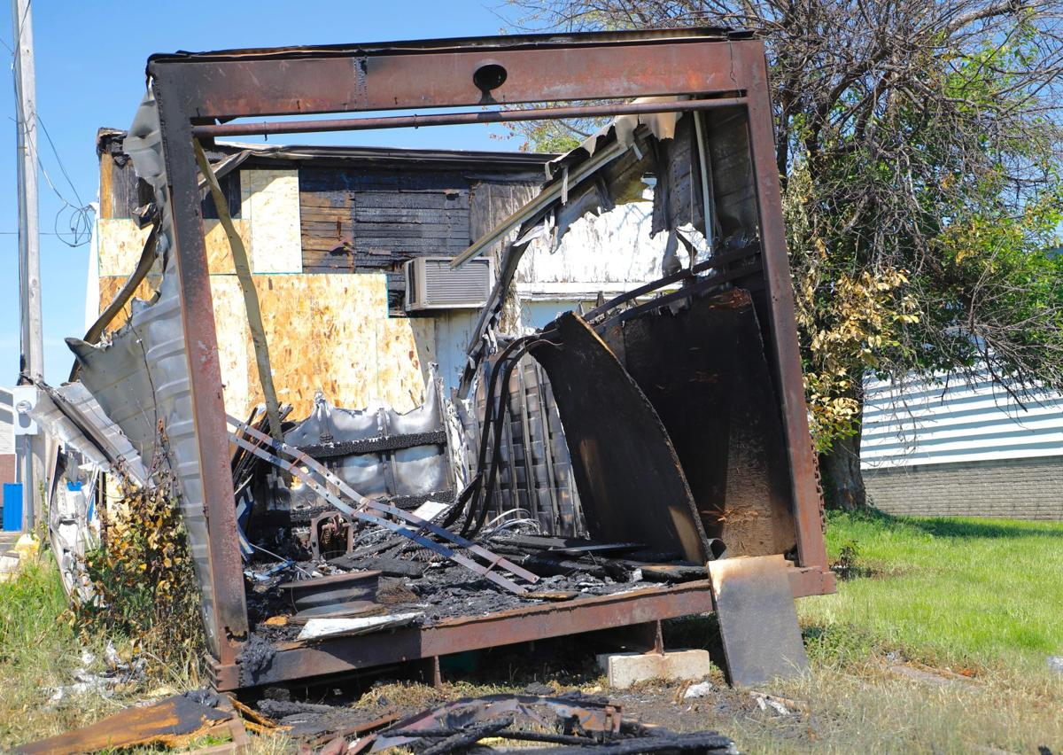 A storage shed on 407 North Second Street is in ashes, arson