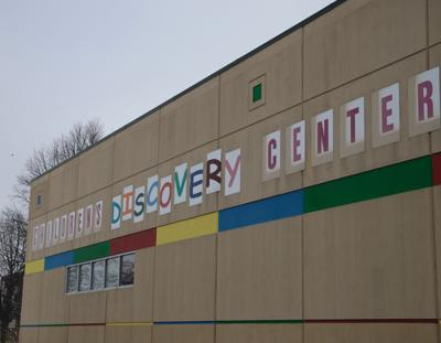 discovery center sign, angled