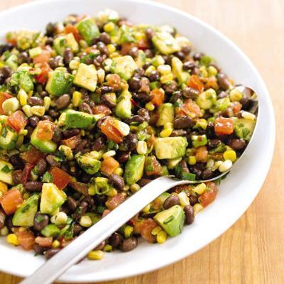 Light, summertime bean salad uses corn and avocado