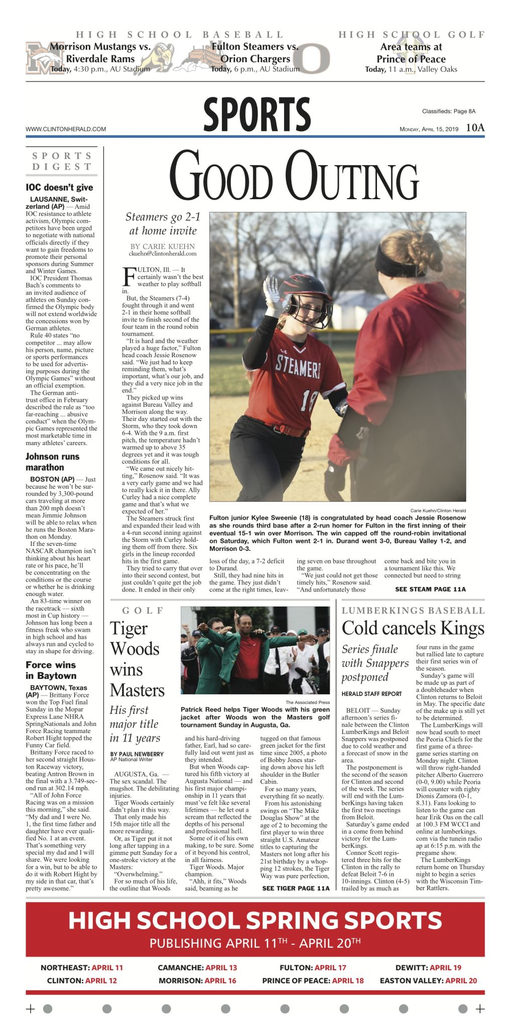 The sports page for April 15, 2019
