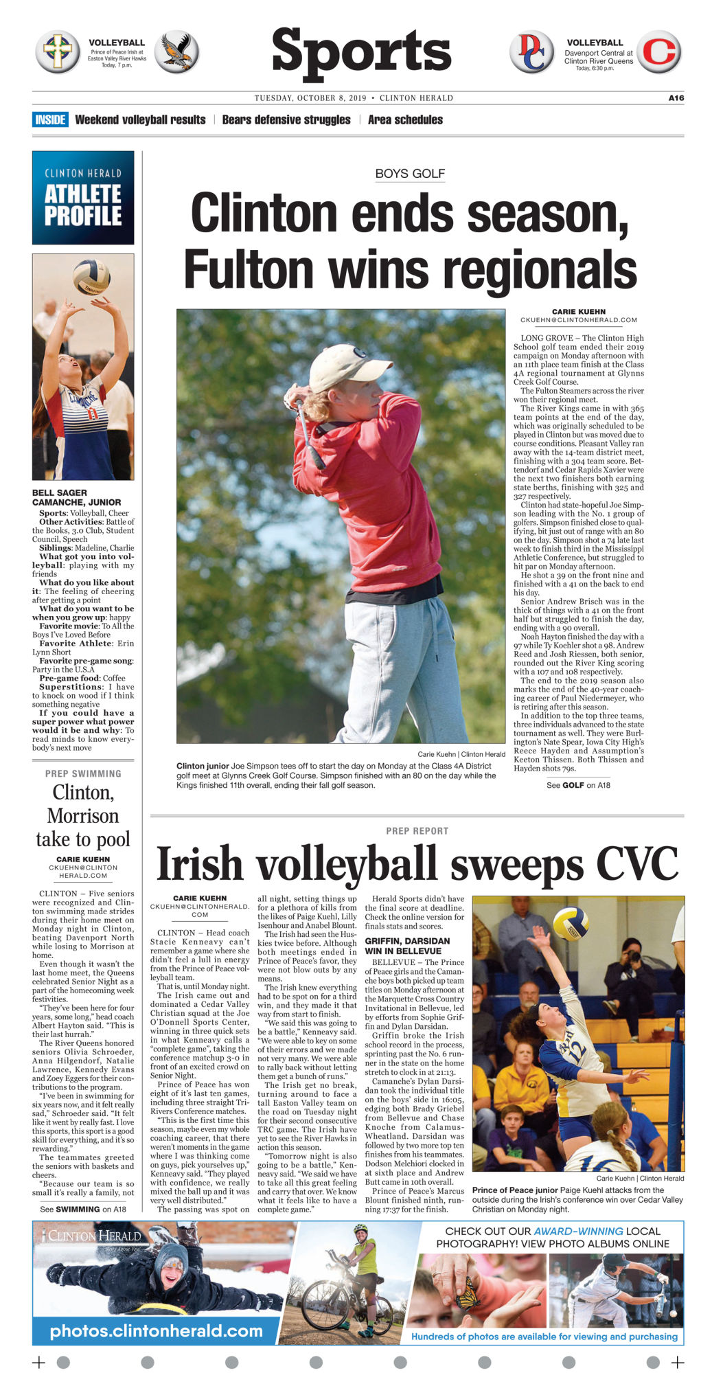 Sports page for Oct. 8, 2019