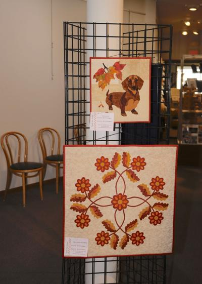 quilts at River Arts Center, Dashshund,  Fall Leaves and Flowers by Bev Peterman