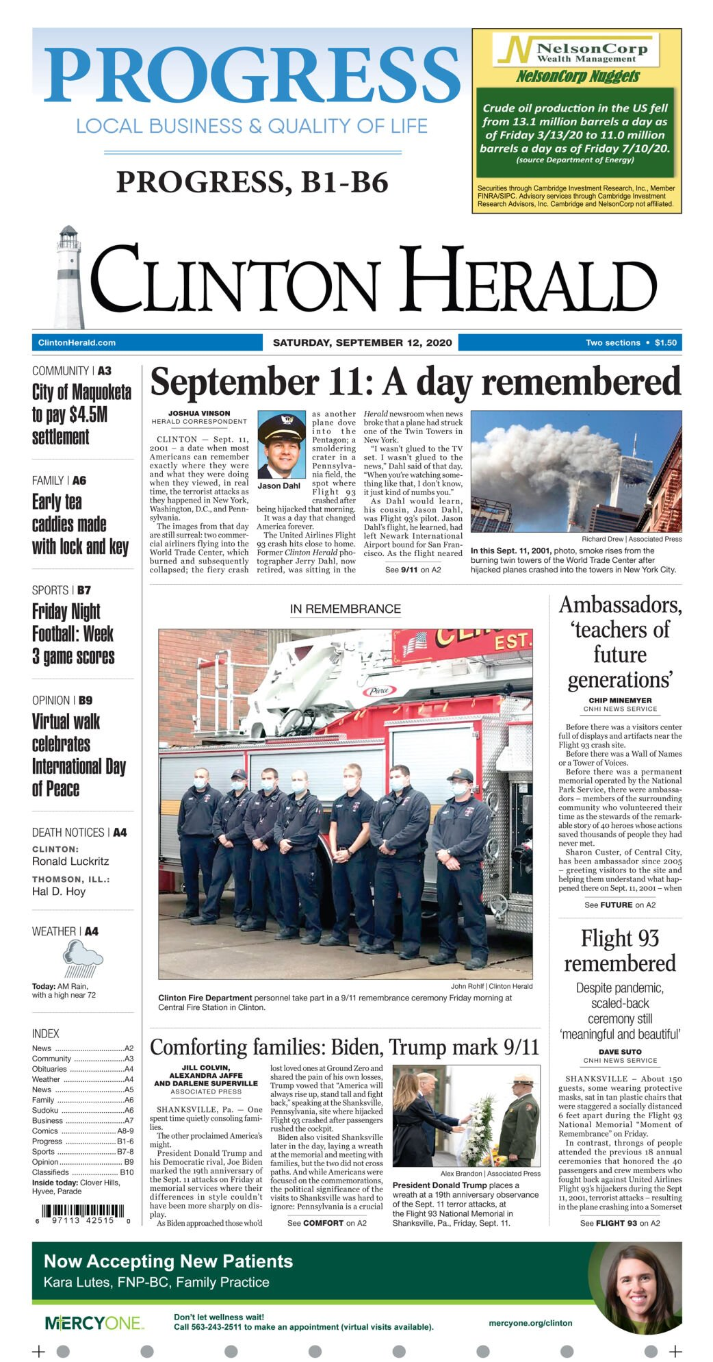Sept. 12, 2020 Front page