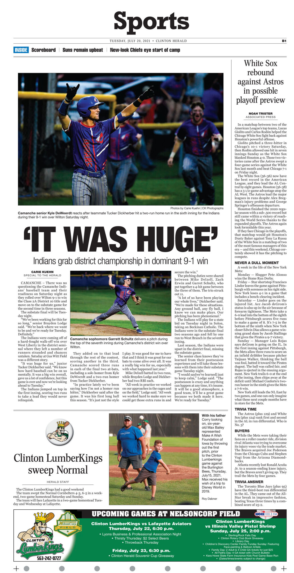 July 20, 2021 Front Sports page