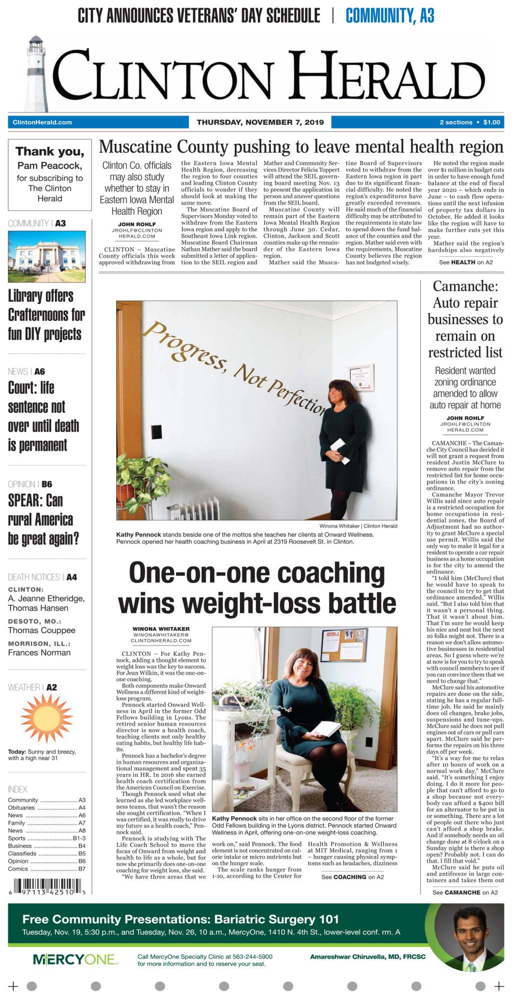 Nov. 7, 2019 Front page