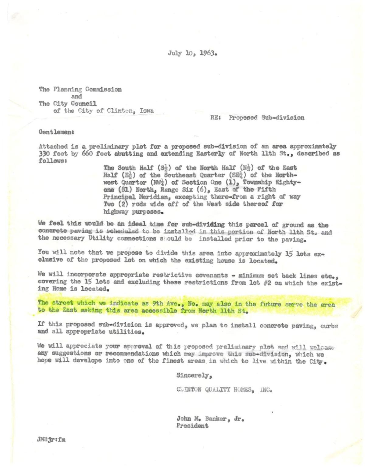 1963 letter referencing Ninth Avenue North