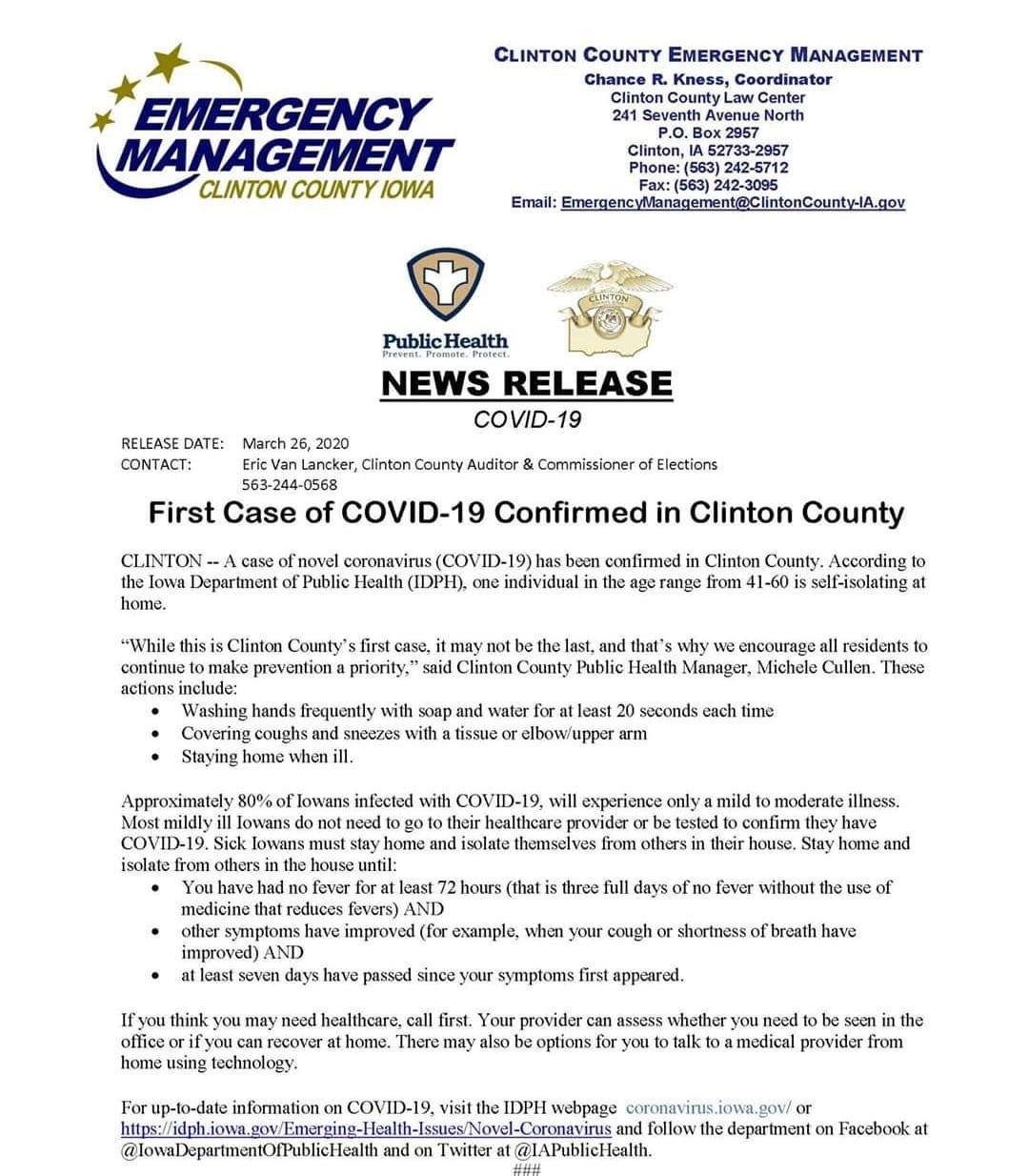COVID-19 emergency release