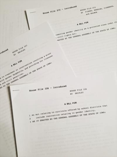 Printouts of bills in the Iowa Legislature