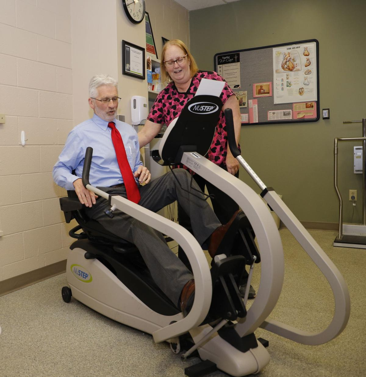 Gary Determan, Amy Alton-Stonebrook, at MercyOne cardiac rehab