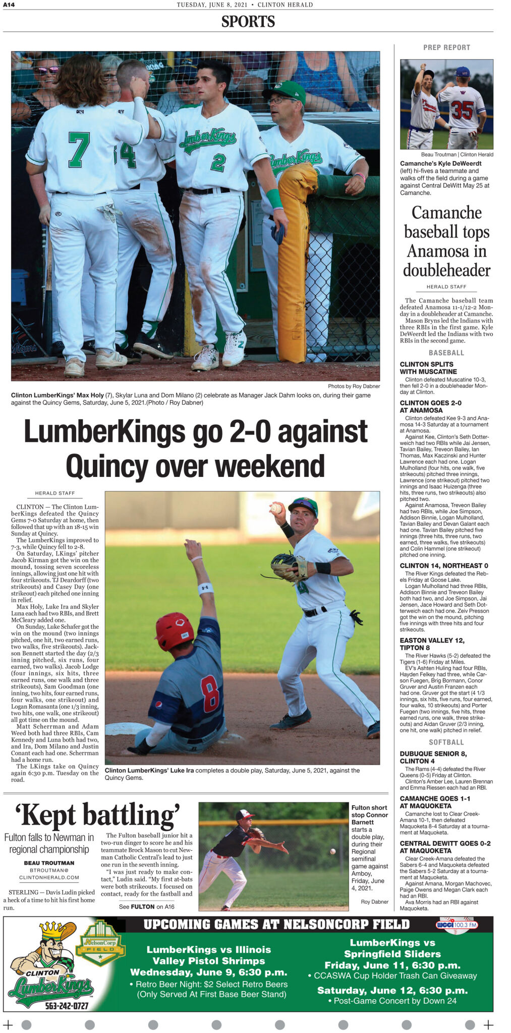 June 8, 2021 Front Sports page
