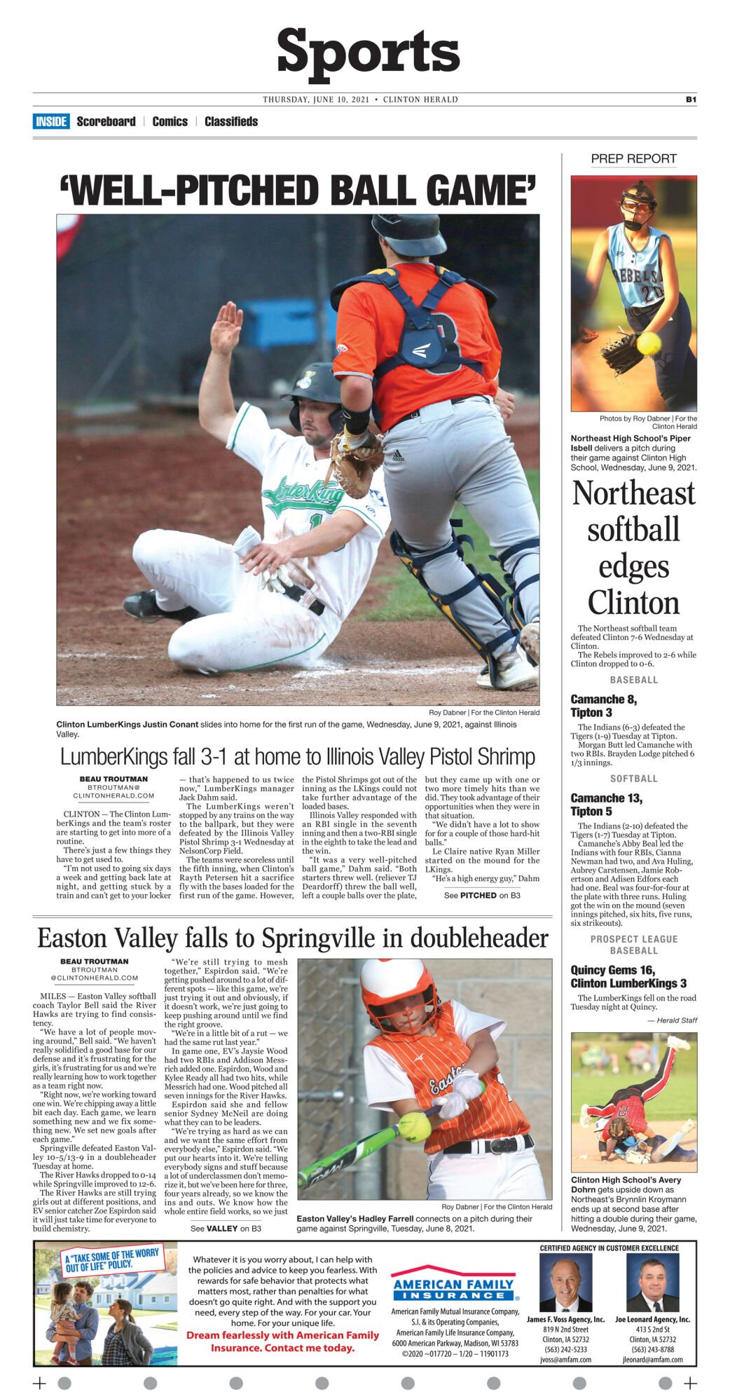 June 10, 2021 Front Sports page