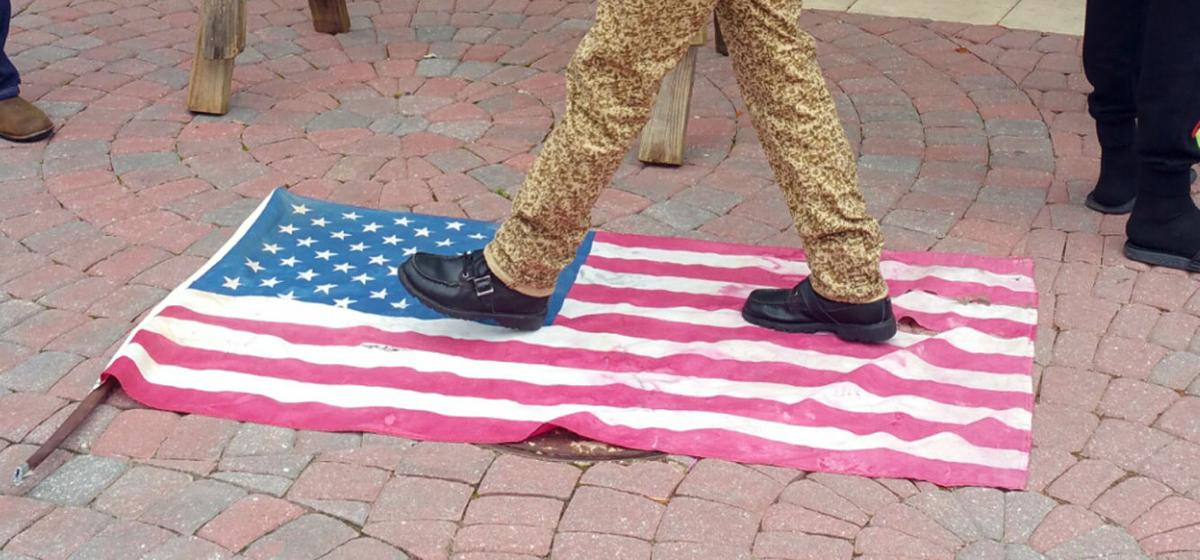 Walking on the flag