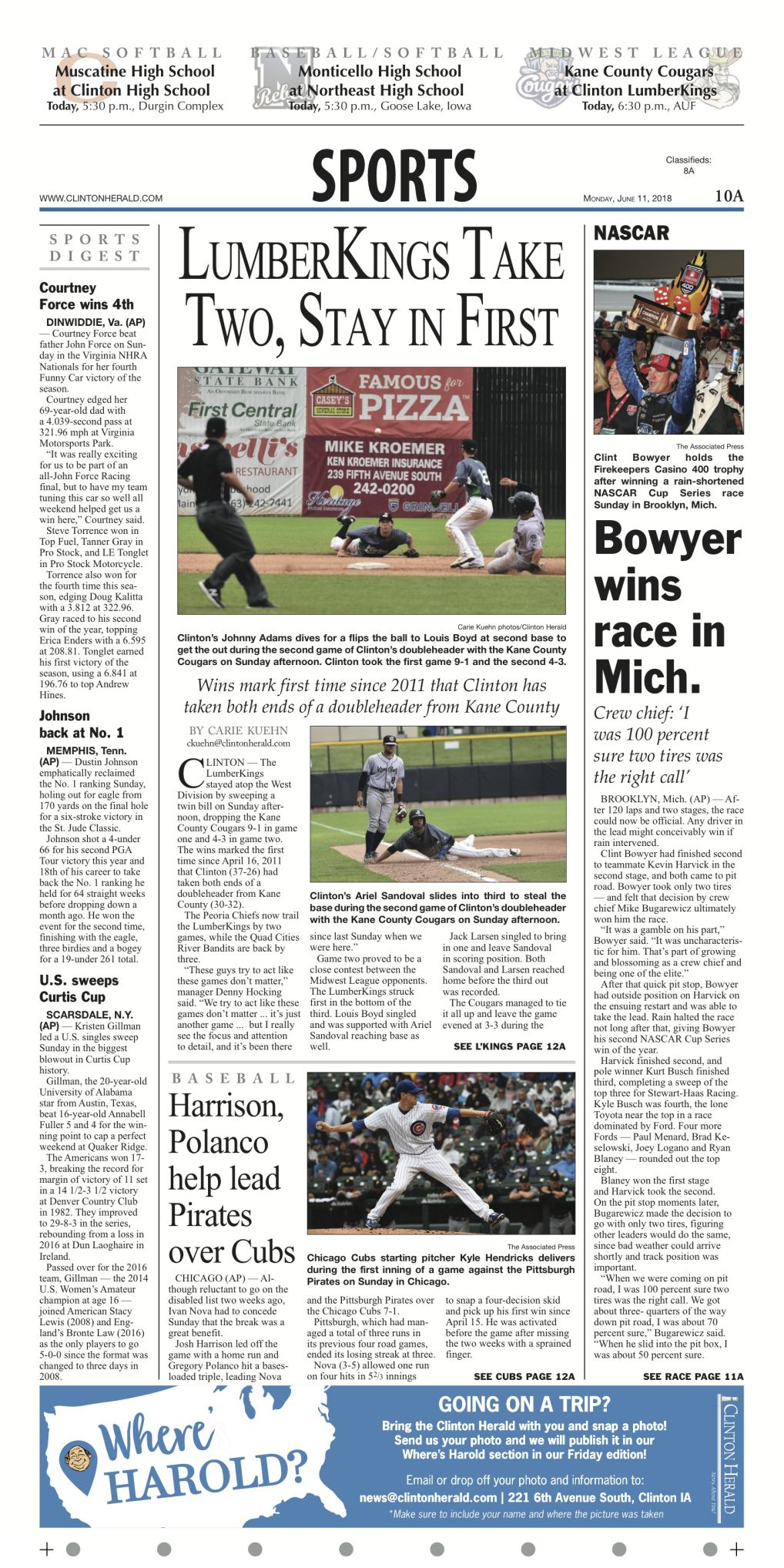 The sports page for June 11, 2018