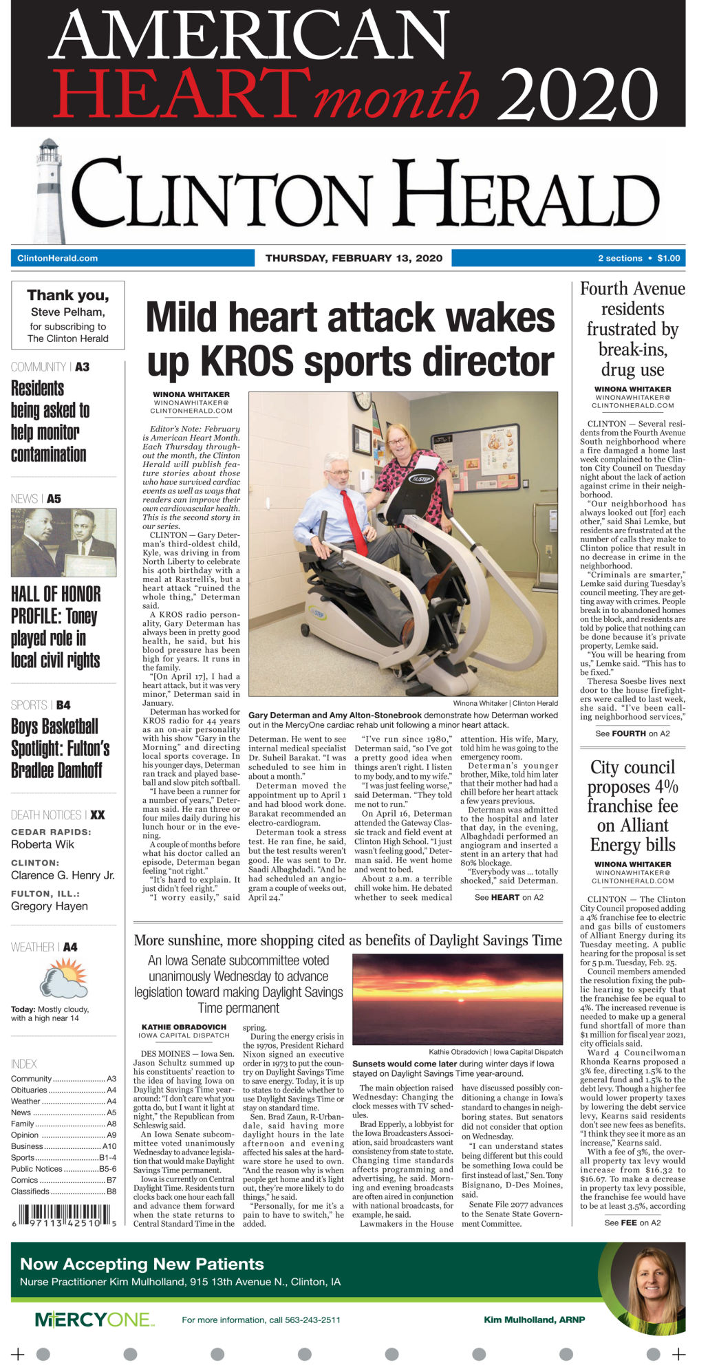 Feb. 13, 2020 Front page