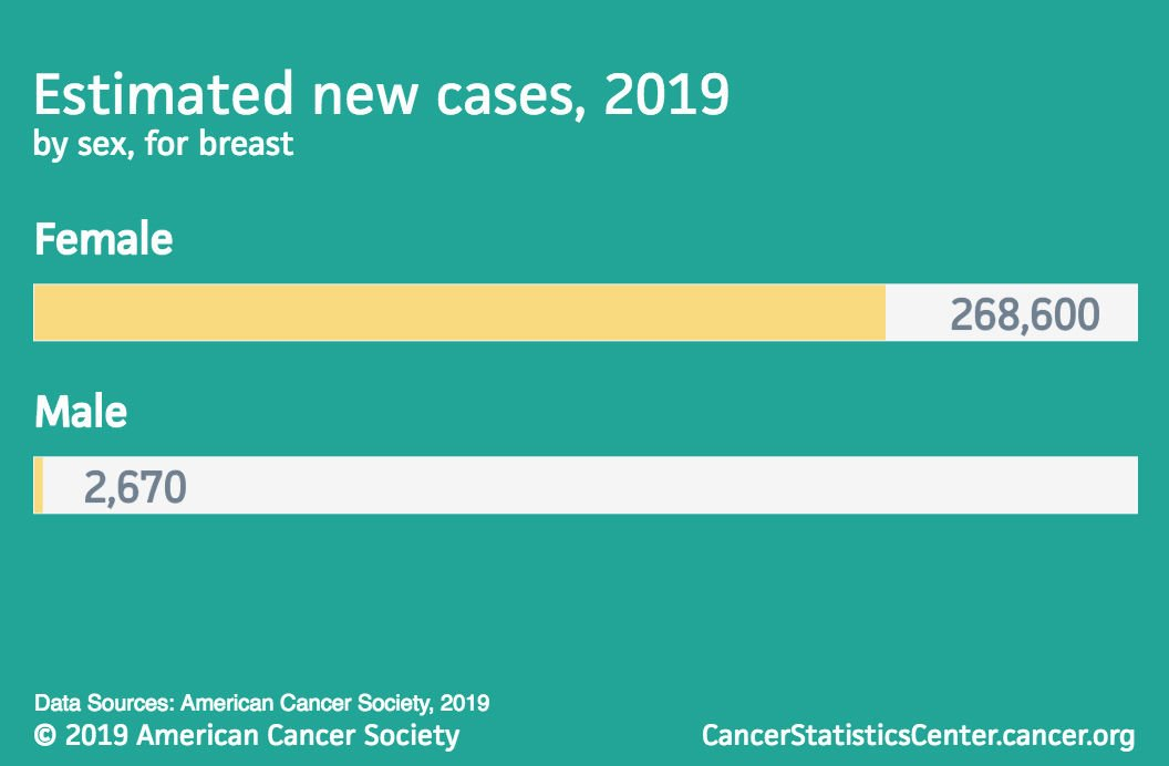Estimated new breast cancer cases in 2019