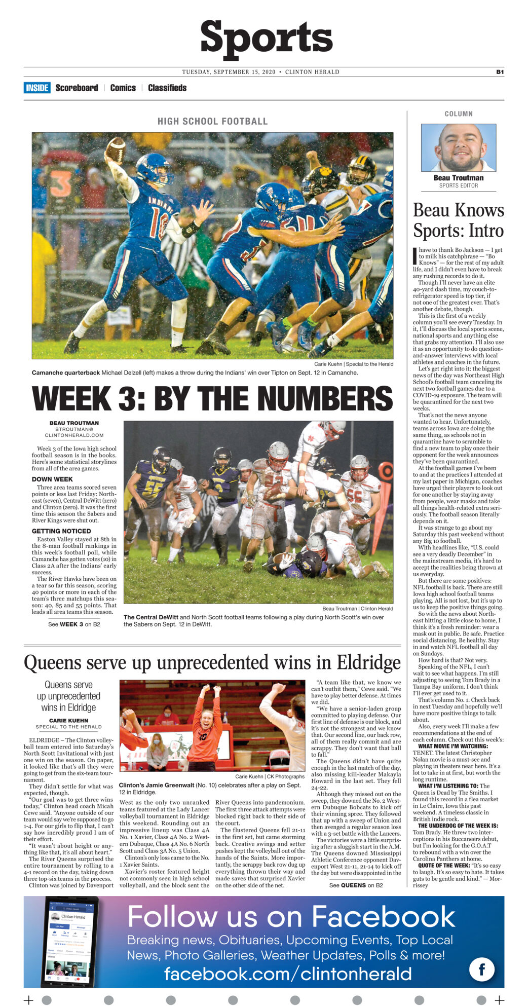September 15, 2020 Front Sports page