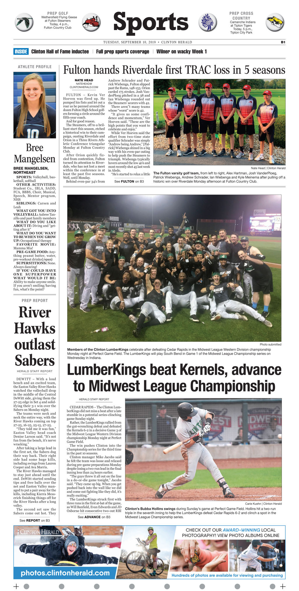 Sept. 10, 2019 Sports page